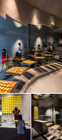 In this modern bakery, large glass windows that line the stairs allow the cheese tarts to be visible to people that are lining up to buy them. #Bakery #ModernStore #RetailDesign
