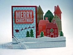 Stampin' Up! Holiday Home Side-Step Card, Holiday Home, Handmade Holiday Framelits