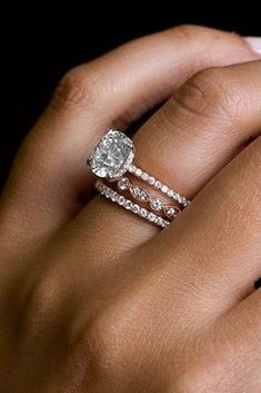 21 Amazing Bridal Sets For Any Style ❤ A lot of girls dream about perfect engagement and perfect wedding. Bridal sets are the way to combine engagement ring of your dream with an equally perfect wedding band. - 21 Amazing Bridal Sets For Any Style Wedding Rings Simple, Custom Wedding Rings, Curved Wedding Band, Wedding Rings Rose Gold, White Gold Rings, Stacked Wedding Rings, Wedding Band Sets, Wedding White, Stackable Wedding Bands