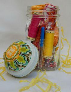 Mason jar sewing kit - cute gift idea.