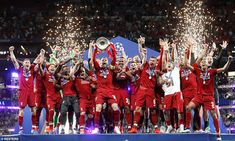 Liverpool have been crowned kings of Europe for the first time since 2005 after beating Spurs at the Wanda Metropolitano Stadium in Madrid. Captain Jordan Henderson lifts the coveted trophy, pictured Salah Liverpool, Liverpool Fans, Liverpool Football Club, Liverpool Champions League Final, Champions League Finale, Madrid, Victory Parade, Best Football Team, Football Players
