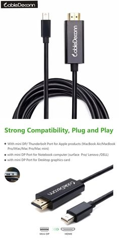 Mini DisplayPort dp Thunderbolt to HDMI 4K 6ft cable for Macbook Pro For Apple Mac Macbook & Air 1.83M 2017 Hot Selling
