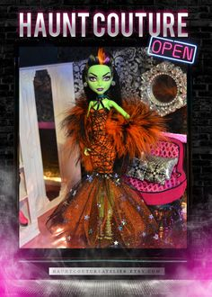 "Monster Doll ""Spellbinding"" gown and boa"