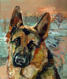 "Daily Paintworks - ""Winter Melancholy I - dog, German shepherd"" - Original Fine Art for Sale - © adam deda"