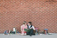 Engagement Pictures - Book themed wedding - Bricks - Brooke Aliceon Photography