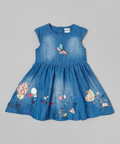 Look what I found on #zulily! Blue Denim Cap-Sleeve Dress - Infant, Toddler & Girls #zulilyfinds