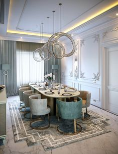 Luxury Neoclassical Palace Interior Design (With images) Elegant Dining Room, Luxury Dining Room, Dining Room Design, Classic Dining Room, Dining Decor, Neoclassical Interior Design, Luxury Interior Design, Moodboard Interior, Palace Interior