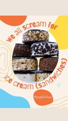 Chocolate Ice Cream, Vanilla Ice Cream, Summer Desserts, No Bake Desserts, Homemade Ice Cream Sandwiches, Strawberry Ice Cream, No Bake Cookies, Treat Yourself, Cookie Recipes