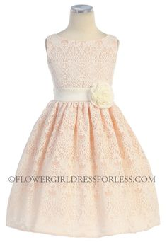 SK_437PH - Girls Dress Style 437- Sleeveless Lace Dress - Corals, Peaches, Oranges - Flower Girl Dress For Less