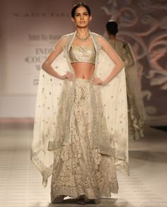 Embroidered Ivory Lengha Set