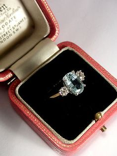 VINTAGE 18CT AQUAMARINE DIAMOND RING | eBay