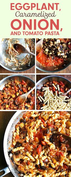 Eggplant, Caramelized Onion, and Tomato Pasta ~ and 6 other easy dinners to make this week