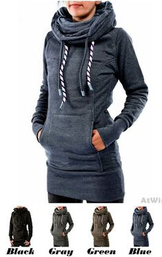d81f66d263 Leisure Heaps Collar Hooded Long-sleeve Pocket Embroidered Fleece Long  Pullover Women s Sweater  coat