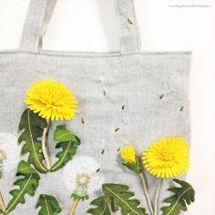 "Dandelion felt applique and embroidery mini bag by e.no.bag ""タンポポ ノ バッグ "" #dandelion #felt #embroidery"