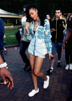Rihanna Street Style - simple oversized shirts are definitely going in my summer wardrobe