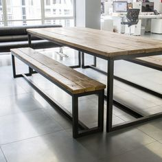 Harnall Industrial Rustic Steel Frame Table **Made to Order**