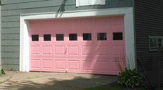 Pink garage door made possible with our TruChoice Color System. Garage Door Paint, Garage Door Colors, Custom Garage Doors, Window Shutters, Interior Paint Colors, Painted Doors, Entry Doors, House Colors, My Dream Home