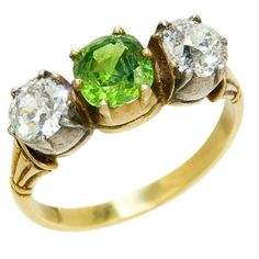 Antique Diamond and Demantoid Garnet Ring    1900