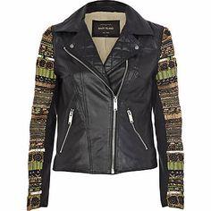 Leather embellished jacket, River Island