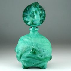 c.1930s SCHLEVOGT INGRID DECO MALACHITE GLASS SCENT PERFUME BOTTLE, FIGURAL STOPPER