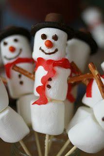 Kindertraktaties: Marshmallow sneeuwpop met duidelijke beschrijving van de ingrediënten!