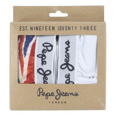 Pack of two pairs of boxer shorts made of soft jersey. Wide elasticated waistband with pepe Jeans logo. Strengthened seams inside the legs. One white and one Union Jack printed pair. - $AU 19.57