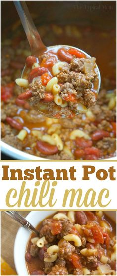 This is the best 5 minute Instant Pot chili mac recipe that you and your kids will love! A classic old fashioned goulash style dinner packed with ground beef and noodles with that chili flavor you love. Dump all the ingredients in and have a complete meal done in less than 15 minutes total, it's a family favorite. #instantpot #chilimac #chili #macaroni #goulash #pressurecooker #groundbeef #easy #dinner