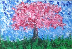 Cherry Tree - thick textured acrylic paint on canvas. See more at https://www.artfinder.com/tina-hiles
