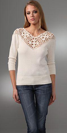 Beyond Vintage Crocheted Yoke Sweater holy crap I want this Moda Crochet, Crochet Yoke, Crochet Trim, Crochet Patterns, Vogue Knitting, Crochet Woman, T Shirt Yarn, Garter Stitch, Beautiful Crochet