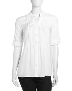 Mandarin-Collar Roll-Up Sleeve Blouse, White by Neiman Marcus at Neiman Marcus Last Call.
