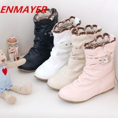 ENMAYER big size 34-44 Fashion Women Martin Boots Wedges Round Toe Platform Buckle Autumn Winter Shoes Warm snow boots $47.66 - 51.66