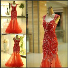 New Cap Sleeves Evening Dress Beaded See Through Mermaid Prom Party Dress Formal Gown on Etsy, $2,311.76