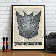 Transformers decepticon logo #shield mock #dictionary page art #print poster., View more on the LINK: http://www.zeppy.io/product/gb/2/131758006917/