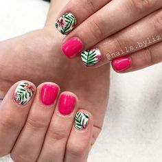 Make an original manicure for Valentine's Day - My Nails Shellac Nails, Toe Nails, Stiletto Nails, Acrylic Nails, Hawaiian Flower Nails, Hawaiian Nail Art, Tropical Flower Nails, Cactus Flower, Jolie Nail Art
