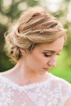 bridal updo with simple gold headband - Google Search