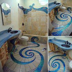 mermaid bathroom decor 15 Awesome Bathroom Decorating Ideas With DIY Mermaid Decor Mosaic bathroom . Mermaid Bathroom, Mosaic Bathroom, Bathroom Tile Designs, Bathroom Flooring, Bathroom Ideas, Peacock Bathroom, Mermaid Tile, Bathroom Interior, Bathroom Modern