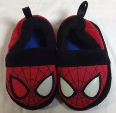 Spiderman Slippers Small 5-6 Toddler Marvel Slip On Black Red