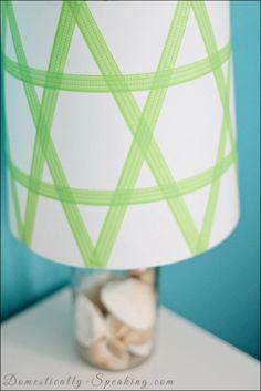 washi, tape, lamp, shade, green