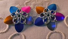 Colorful Scale Chainmaille Flowers by BarbsDesigns for $8.00