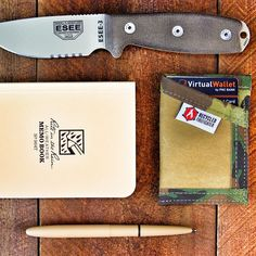 Some sweet USA made gear here.  ESEE Knives fixed blade  @Riteintherain notebook  @Fisherspacepen Tan Bullet Pen  @RecycledFirefighter Coyote/Multicam Combat Boot Sgt