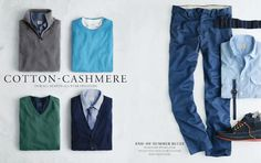 J. Crew August Style guide J Crew Men, End Of Summer, Style Guides, All Star, Cashmere, Blues, Sweatpants, Seasons, Cotton