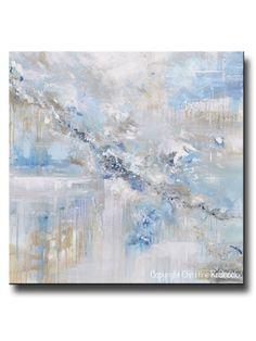 "ORIGINAL Art Abstract Painting Blue White Grey Taupe Modern Textured Coastal Wall Art Decor 36x36"""