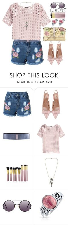 """The Final Cut:Denim Shorts"" by grozdana-v ❤ liked on Polyvore featuring RED Valentino, Black & Brown London, Akris, NOVICA, Sunday Somewhere, Bling Jewelry, jeanshorts, denimshorts and cutoffs"