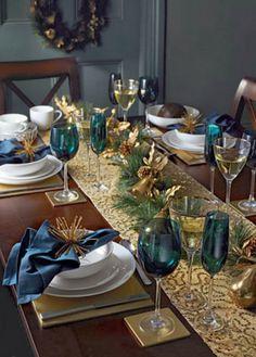 mavi yılbaşı masa dekorasyonu
