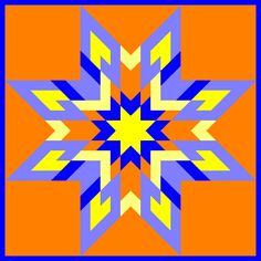 Cool design. I like how the orange is both in the middle of the star quilt, and on the outside.