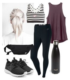 """""""Outdoor workout"""" by huesofcharcoal on Polyvore featuring RVCA, NIKE, S'well, workout, nike, Leggings, muscletee and fannypack"""