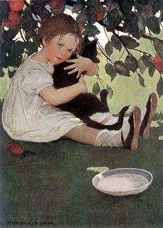 I Love Little Pussy   illustration,1910   Jessie Willcox Smith