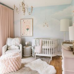 Nuage is a vintage bird and cloud wallpaper mural that comes in a matte finish from Anewall. The soft, enchanting mural comes in two sizes. Baby Room Design, Nursery Design, Baby Room Decor, Bedroom Decor, Clouds Nursery, Nursery Room, Calming Nursery, Baby Girl Nursery Wallpaper, Bird Nursery