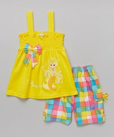 Love this Yellow Shirred Top & Plaid Shorts - Infant by Littoe Potatoes on #zulily! #zulilyfinds