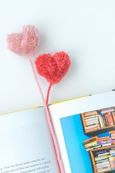How to Make Heart Pom Pom Bookmarks. Easy! And a Perfect Valentine Gift | Design Mom #diy #valentinesday #craft